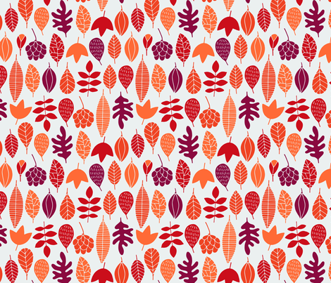 Autumn leaves in red fabric by heleen_vd_thillart on Spoonflower - custom fabric