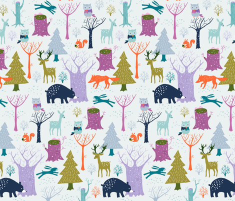 Winter woodland fabric by heleen_vd_thillart on Spoonflower - custom fabric