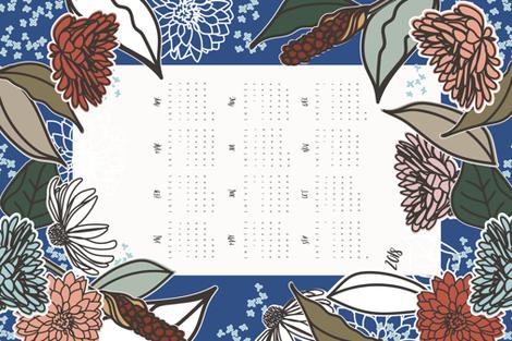 Vintage Garden Tea Towel Calendar 2018 fabric by radianthomestudio on Spoonflower - custom fabric