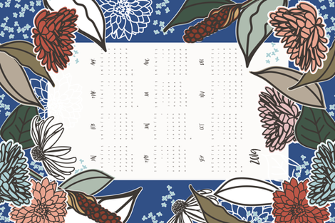 Vintage Farmhouse Tea Towel Calendar 2019 fabric by radianthomestudio on Spoonflower - custom fabric