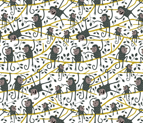 Monkey tree white fabric by heleen_vd_thillart on Spoonflower - custom fabric