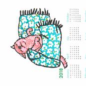 pup nap 3 : 2018 calendar tea towel