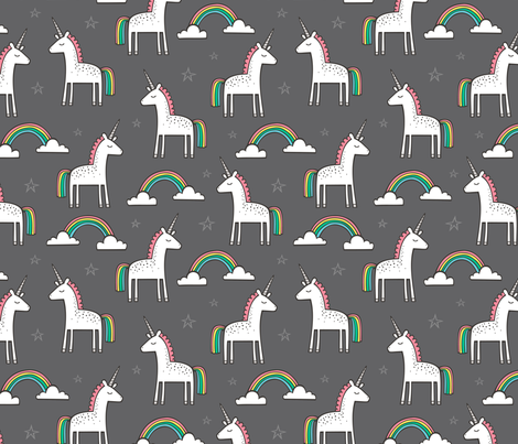 Cute Unicorn Rainbow on Dark Grey fabric by caja_design on Spoonflower - custom fabric