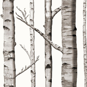 Birch Grove in Warm Grey and Linen White, Straight Match