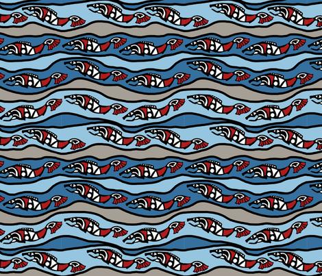 Animal Dream Bear river fish 2 fabric by kheckart on Spoonflower - custom fabric