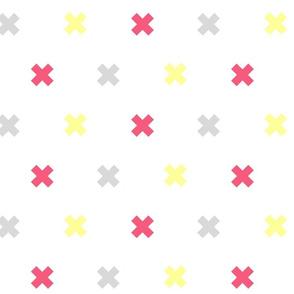 swiss cross in fushia and lemon