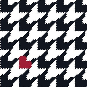Houndstooth with Hearts (Large) - Black/White/Red