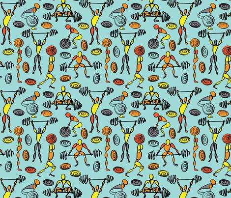 Weightlifters fabric by kimthings on Spoonflower - custom fabric
