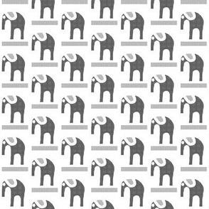 Marching Elephants Gray Flannel