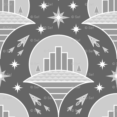 flying cities : greyscale version
