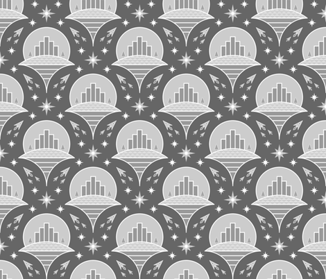 flying cities : greyscale version fabric by sef on Spoonflower - custom fabric