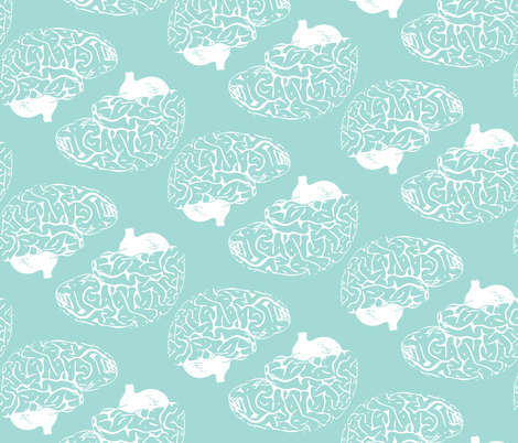 Braaaains White on Seafoam fabric by beththompsonart on Spoonflower - custom fabric