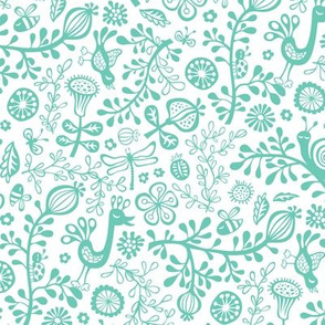 Sunny Garden with bird&snail Mint Green