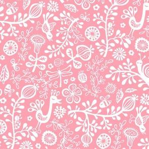 Sunny Garden with bird&snail in Pink