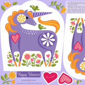 Happy Unicorn Pillow_Purple2