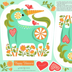 Happy Unicorn Pillow_Turquoise1