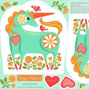 Happy Unicorn Pillow_Turquoise2