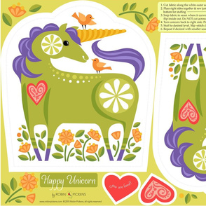 Happy Unicorn Pillow_Green