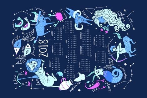 2016 Zodiac Tea Towel Calendar fabric by jadefrolics on Spoonflower - custom fabric