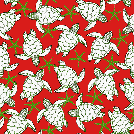 Sea Turtles & Starfish Christmas fabric by lauriekentdesigns on Spoonflower - custom fabric
