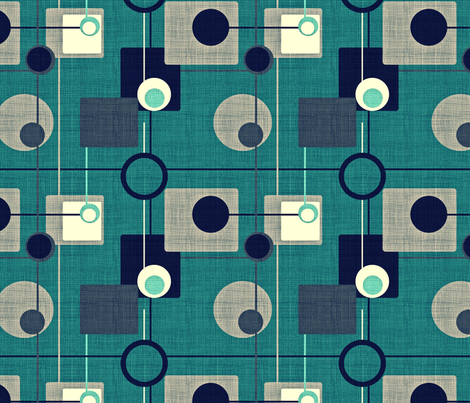 orbs_and_squares_emerald blue fabric by chicca_besso on Spoonflower - custom fabric