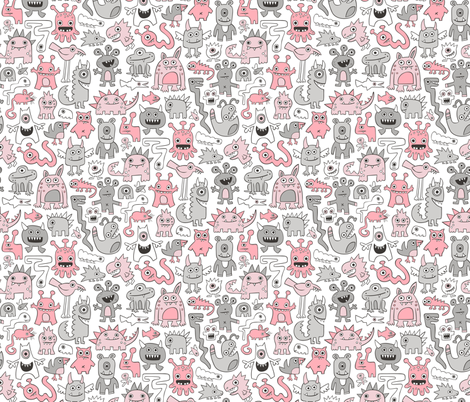 Monsters in Pink Grey fabric by caja_design on Spoonflower - custom fabric