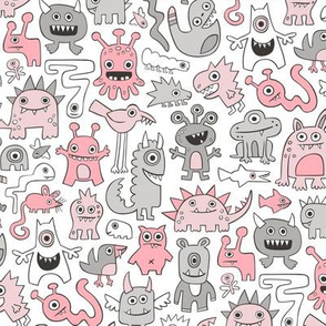 Monsters in Pink Grey