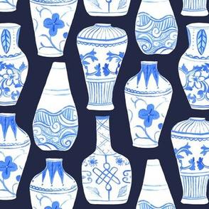 Chinese Vases (dark blue)