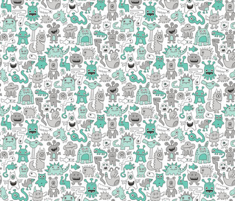 Monsters in Green fabric by caja_design on Spoonflower - custom fabric