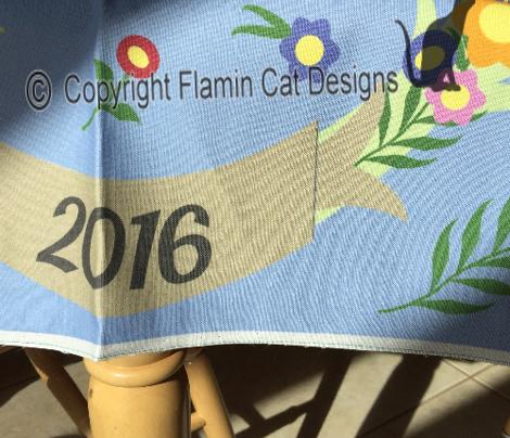 Bright Blue Floral Wreath 2016 Calendar