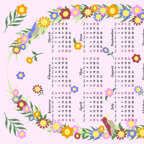 2016 Pink Floral Wreath Calendar