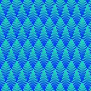 Wavy Green & Blue Plaid