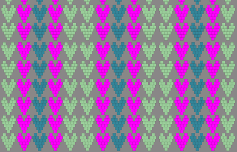 Pixel Hearts fabric by llchemi on Spoonflower - custom fabric