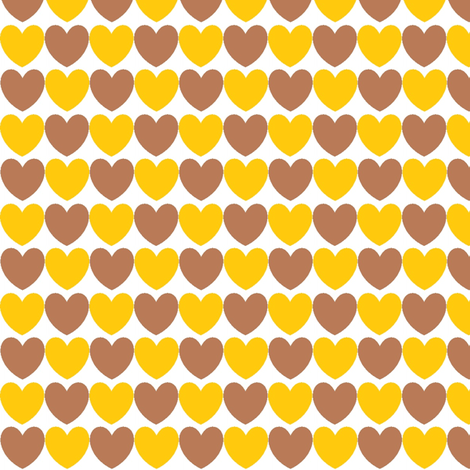 hearts_brown_and_mustard fabric by lesenviesdecharlotte on Spoonflower - custom fabric