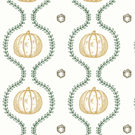 Pumpkins and Vines fabric by catherine_mcguire_illustrations on Spoonflower - custom fabric
