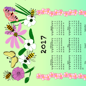 2017 Tea Towel With Flowers, Bees & Butterflies