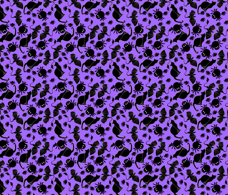tossed black cats and spiders on purple fabric by pamelachi on Spoonflower - custom fabric