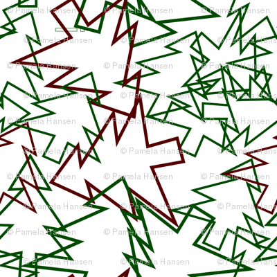scattered tree cutouts green and red