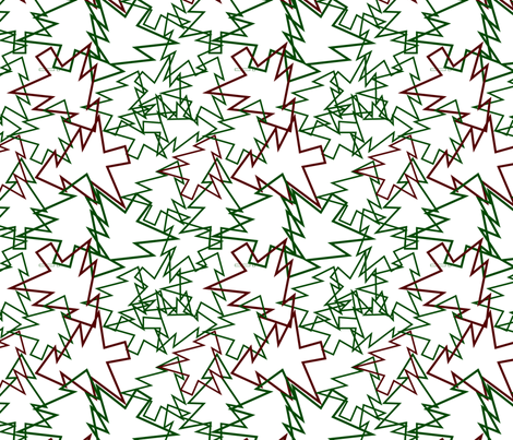 scattered tree cutouts green and red fabric by pamelachi on Spoonflower - custom fabric