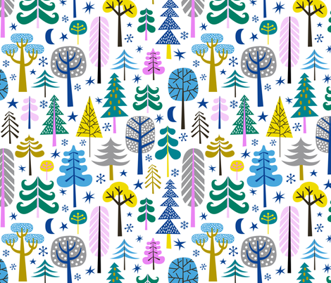 moonlight forest - white fabric by mirabelleprint on Spoonflower - custom fabric