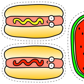 Hot Dog and Watermelon Plushie - Color