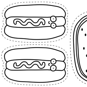 Hot Dog and Watermelon Plushie - Black and White