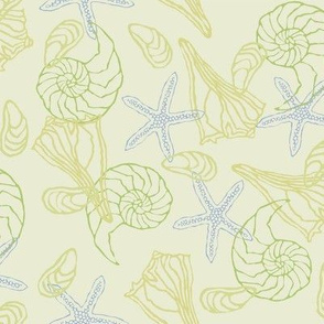 Light Soft Green with Seashells