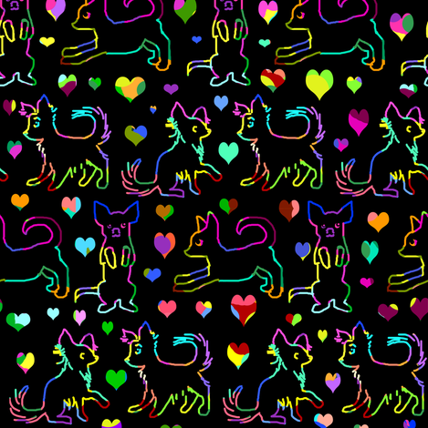 Rainbow Love Scratchboard Chihuahuas fabric by eclectic_house on Spoonflower - custom fabric