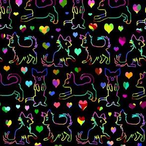 Rainbow Love Scratchboard Chihuahuas