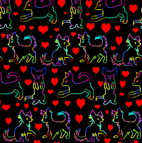 Rainbow Red Heart Scratchboard Chihuahuas fabric by eclectic_house on Spoonflower - custom fabric