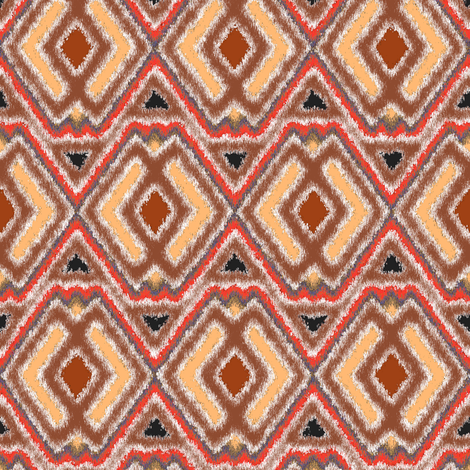 Double Diamond Ikat Cocoa fabric by eclectic_house on Spoonflower - custom fabric