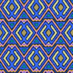 Double Diamond Ikat True Blue