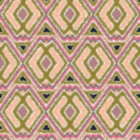 Double Diamond Ikat Peach fabric by eclectic_house on Spoonflower - custom fabric