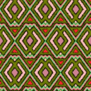 Double Diamond Ikat Olive